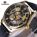 2018 Forsining 3d Logo Royal Design Black Gold Men Mechanical Watch Montre Homme Mens Watches Top Brand Luxury Leather Skeleton