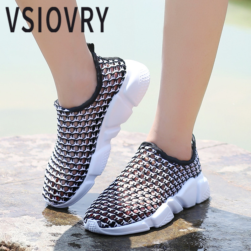 VSIOVRY Summer Men Casual Shoes 2018 Fashion Sneakers Male Breathable Openwork Mesh Unisex Flats Shoes Outdoor Trainers Krasovki