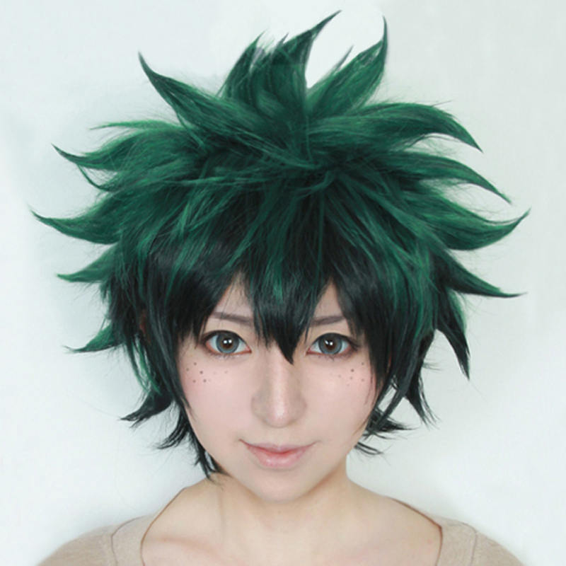 IHYAMS Wig My Boku No Hero Academia Izuku Midoriya Short Green Black Synthetic Hair Heat Resistant Cosplay Costume Wig