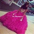 Vestidos De 15 Shiny Crystal Quinceañera Vestidos Con Pliegues de Organza Puffy Balón vestido 2016 Muchachas Largas Del Partido Vestido de Fiesta Caliente rosa