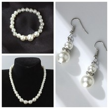 New high-quality European and American classic shambhala crystal pearl necklace earrings set(China)