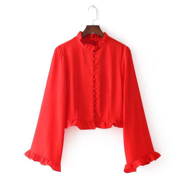 5267dd54ab7fd ruffled red blouse women tops butterfly sleeve crop top sexy shirt female  elegant vintage 1950s ladies blouses camisa feminina