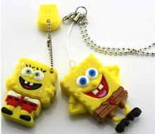 Real capacity Free Shpping  Square Pants/Sponge Bob usb flash drive/memory card /pen/car 16GB  usb flash drives S57 no chain