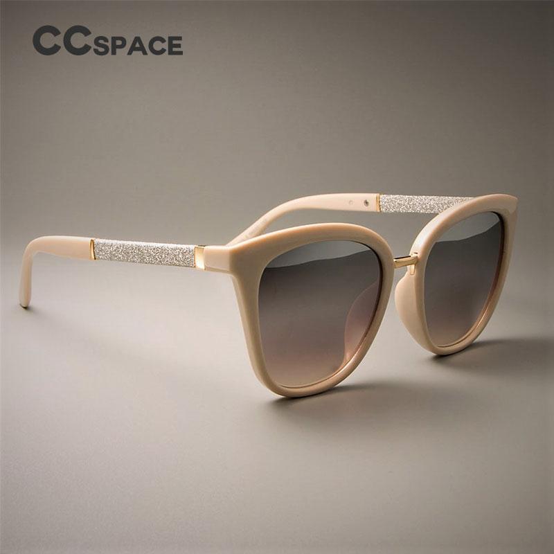 CCSPACE Square Sunglasses Uv-Protection Silver White Lens-Brand Women Ladies Eyewear