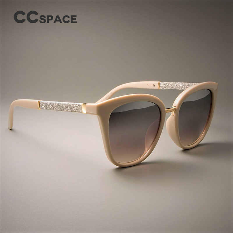 CCSPACE GORGEOUS Ladies Square Sunglasses For Women Beige Frames Silver White Lens Brand Designer Eyewear UV Protection Glasses
