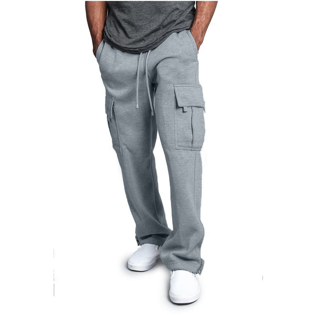 JAYCOSIN Spring sweatpants men's solid color sports pants stitching overalls casual pocket sports work casual pants hip hop