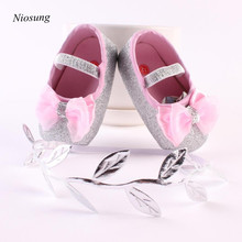 New Baby Girl Flower Shoes Sneaker Anti-slip Hand Princess Soft Toddler Shoes First Walkers Shoes +1pc Cute Hairband wholesale v