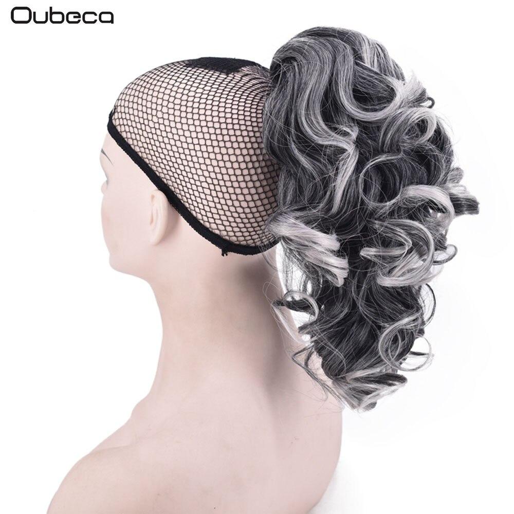 Oubeca Kvinnor Kort Ponytail Blond Grå Curly Claw Ponytails - Syntetiskt hår