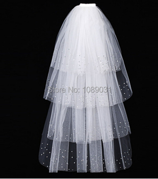 Brand New Elegant Wedding Veil With Sequins 4 Layers White/Ivory Wedding Accessories Wedding Dress Bridal Veils With Comb eudress two layers white ivory wedding veil short tulle veils with comb wedding accessories bridal veils with sequins