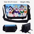 2017 Saco Dos Desenhos Animados Sailor Moon Mensageiro Pacote de Saco de Lona Bolsa de Ombro Sling Escola Bags 43*27*11 CM