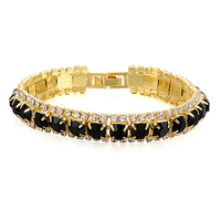 Fashion Womens Square Crystal Black Onyx Lucky Charming Love Bangle Tennis Bracelet Yellow Gold Filled Jewelry