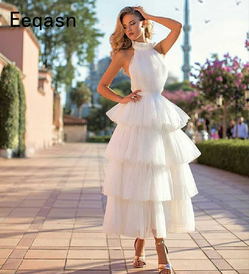 17bfed6569d6 Detail Feedback Questions about New Arrival Tiered Tulle Prom Dresses 2019  White Pink Black Custom Made Tea Length Elegant Women Formal Party Gown  vestido ...