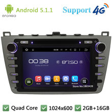 Android 5.1.1 WIFI Quad Core HD 1024*600 Car DVD Video Radio Stereo PC 3G/4G GPS Map For Mazda 6 Ruiyi Ultra 2008 2009-2012