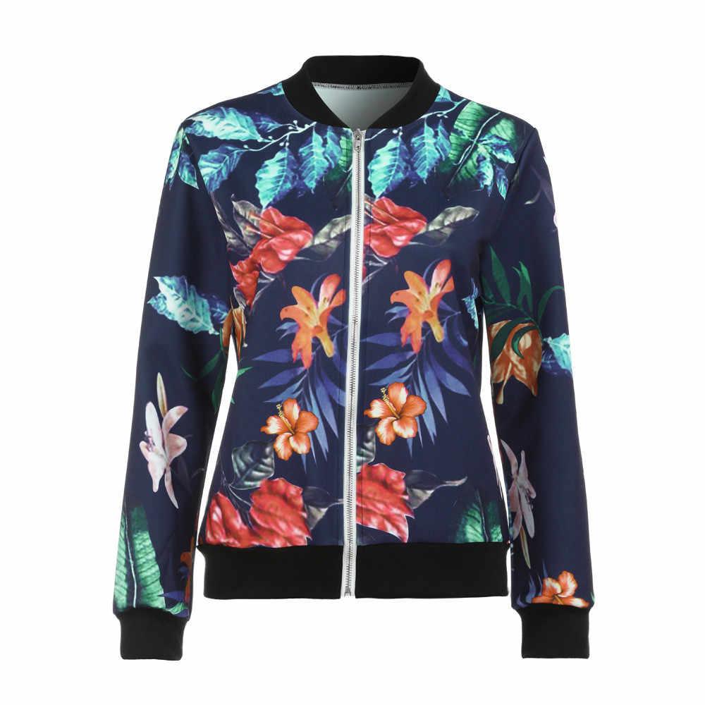 Retro Dames Bloemen Printing herfst jas Met Lange Mouwen Rits bomberjack Casual Losse campera mujer 2019 Nieuwe