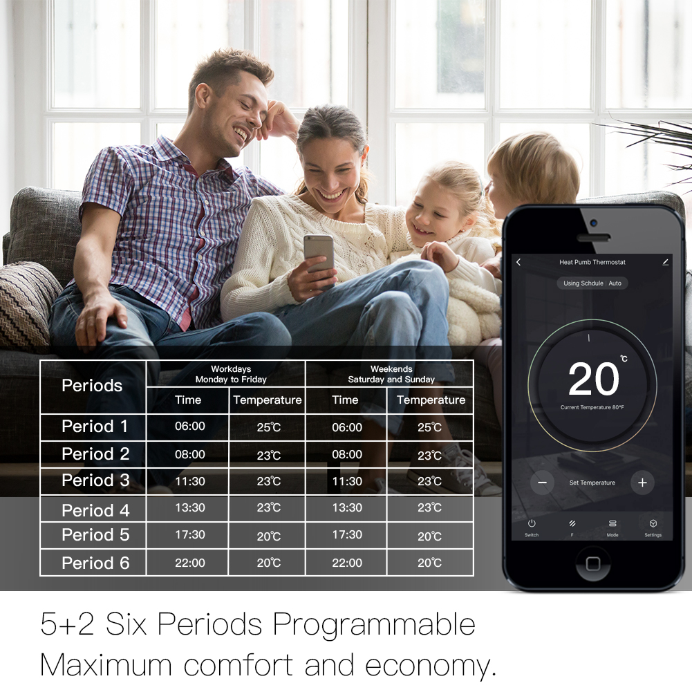 Le régulateur de température intelligent de Thermostat de WiFi pour l'eau/la chaudière électrique de chauffage par le sol d'eau/gaz fonctionne avec Alexa Google Home - 5