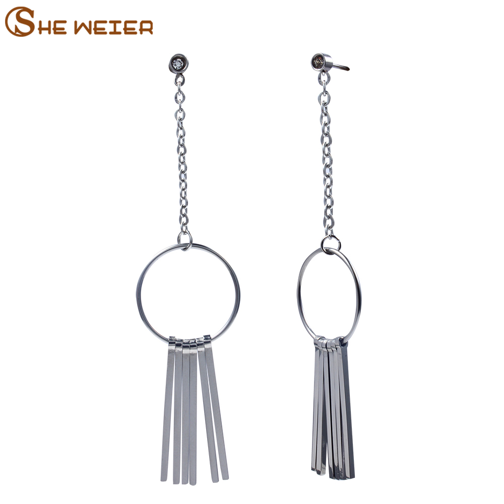 SHE WEIER tassel earrings jewellery brincos long earrings 2018 for women stainless steel earing fashion jewelry dangle errings
