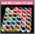 Professional New 36 Mix Colors Nail Art UV gel Pure + Glitter Powder+ Shimmer Colorful Nail Gel UV gel set