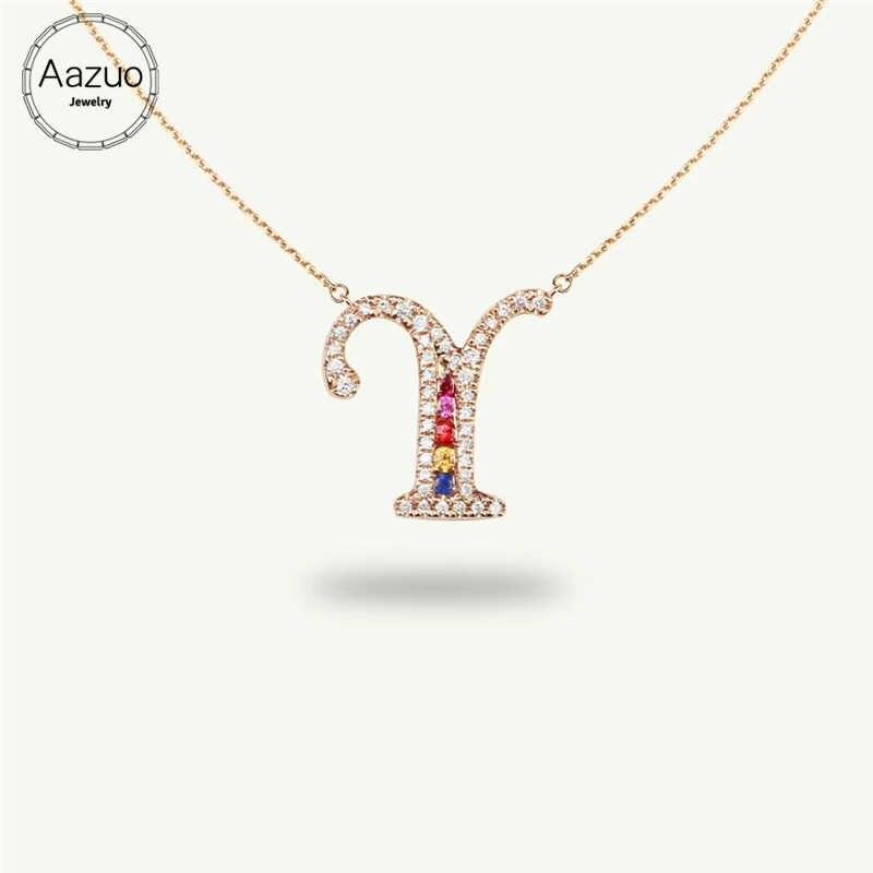Aazuo 18 karat Rose Gold Natürliche Edelstein Farbe Echt Diamant Original Glück Initial Brief Kostenloser Pendent Halskette begabt für Frauen