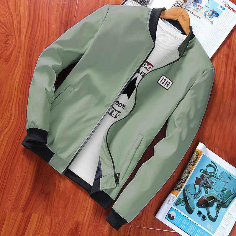 Сезон: весна–лето мужские куртки и пальто тонкий Slim Fit Куртки-бомберы черный воротник-стойка jaqueta masculina Лидер продаж