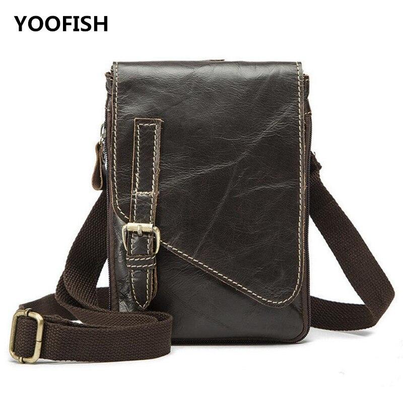 Main Gratuite Style Leatherr Livraison Vintage Classique Brun Véritable À Épaule Sac Yoofish Brown Hommes Bandoulière Nouveau Tqvfxwa
