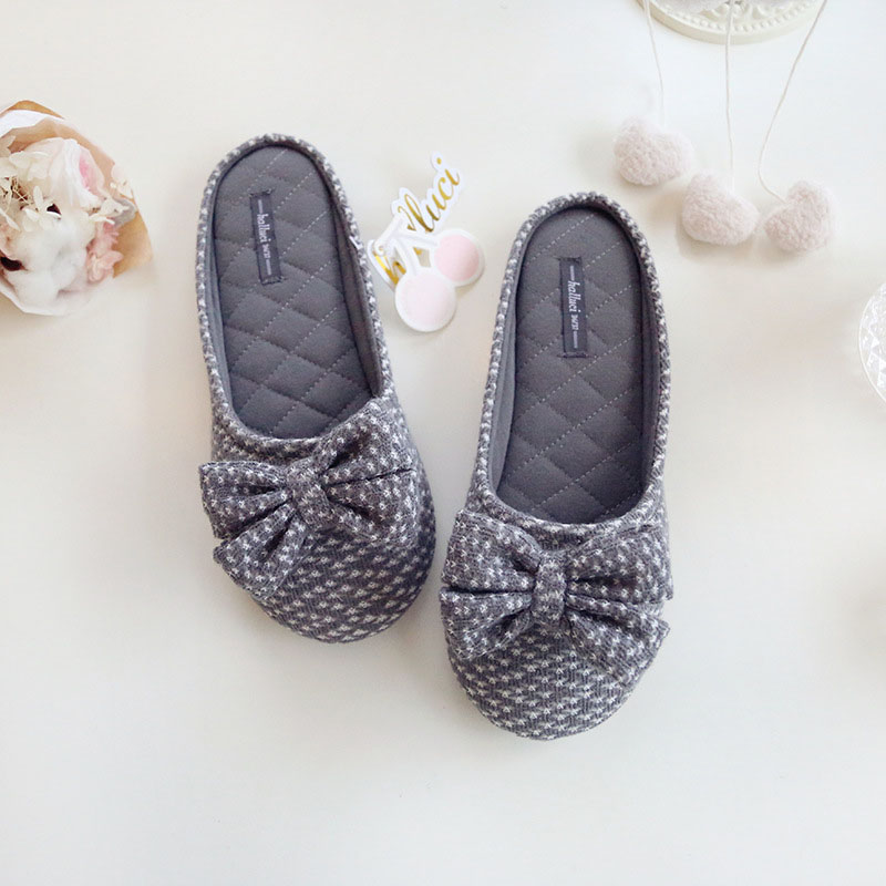 Cute Bowtie Home Slippers Women House Shoes Girls For Bedroom Adult Female Slippers Warm Winter Girls Ladies Soft Flats qweek women home animal slippers fur indoor rabbit slippers warm ladies cute funny adult slippers female slide house shoes