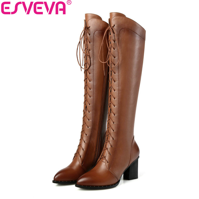 ESVEVA 2018 Women Boots Square High Heels Boots PU Cow Leather Short Plush Pointed Toe Knee-high Boots Ladies Boots Size 34-42 esveva 2018 high heels women boots short plush boots square heels elegant chunky pointed toe ankle boots ladies shoes size 34 39