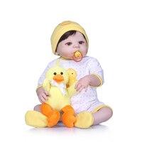 with Duck plush doll 55CM Soft Silicone Reborn Dolls Baby Realistic Full Vinyl BeBe Reborn Doll For Girls