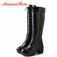 ANMAIRON Boots New Gothic Ppunk Shoes Cosplay Motorcycle Boots Platform Sexy Lace-Up Winter Med Knee High Boots Free Shipping