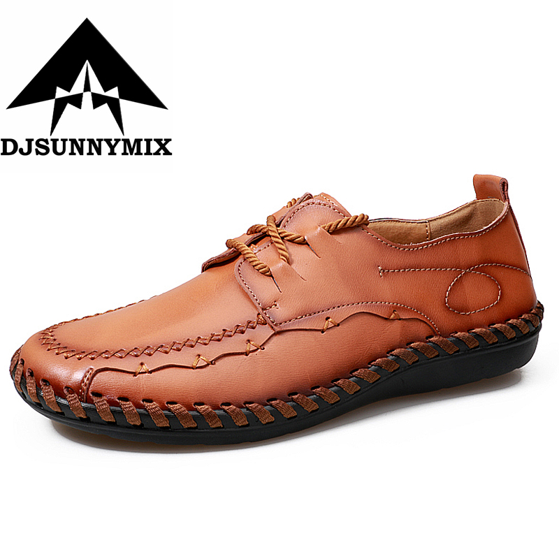 DJSUNNYMIX Fashion British Style Men Causal Shoes Genuine Leather Men Shoes Slip On Men handmade Shoes Breathable Men's Shoe 2018 brand new spring men slip on shoes breathable shoes british style shoes loafers genuine leather flat shoes wa 03
