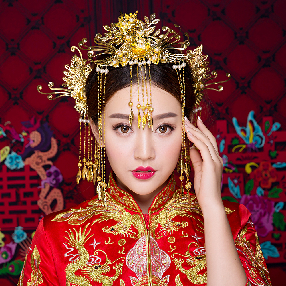 Classical Chinese Oriental Wedding Hair Accessories Jewelry Gold Color Tassel Hair Sticks Phoenix Headband Princess Headdress lavender flower headband princess bridal wedding hairpieces girls prom hair accessory headdress gold color hair jewelry handmade