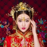 Classical Chinese Oriental Wedding Hair Accessories Jewelry Gold Color Tassel Hair Sticks Phoenix Headband Princess Headdress