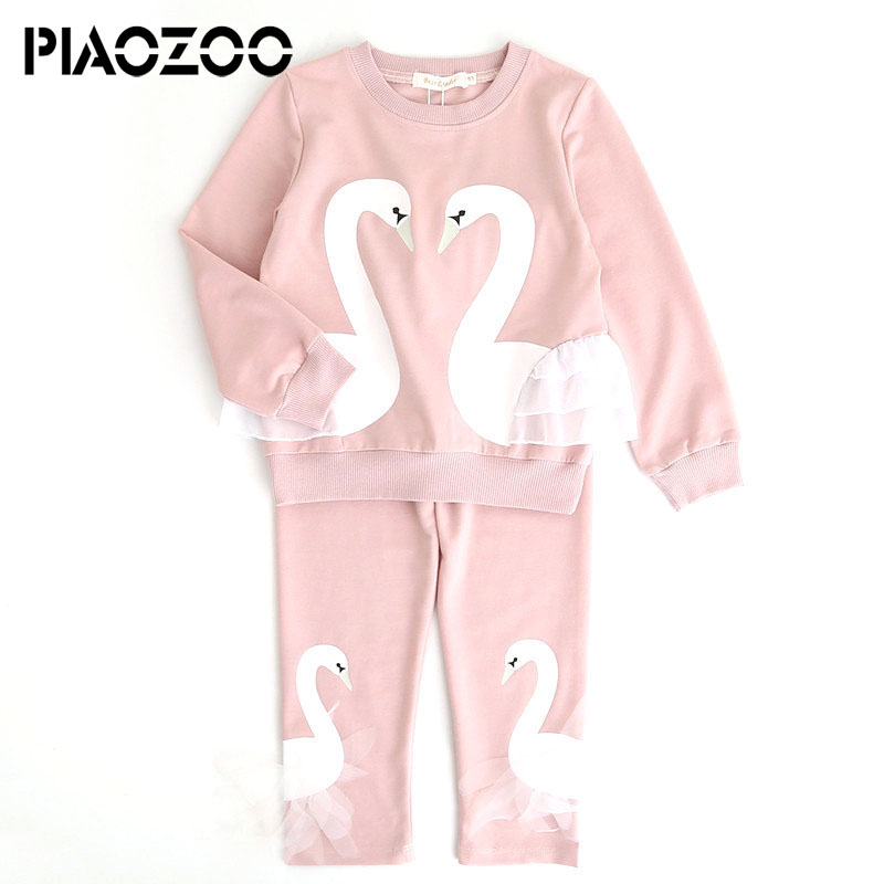 574c7cbfddd0 Baby girl sets clothing 2018 autumn long sleeve children Cotton Top swan t  shirt pant sets