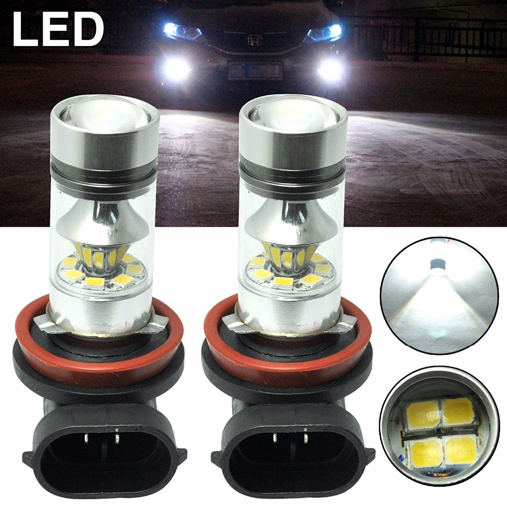 Kit 2 Lampadas Japanese Car H8 H11 H16 H16LL 100W Super Led Cree 3535 SMD Chip Neblina Farol For <font><b>Toyota</b></font> Corolla Ford Vw image
