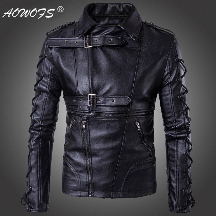 AOWOFS nouveau design Europe et amérique mode moto veste en cuir grande taille 5XL noir Jaket marque hommes vestes en cuir manteaux