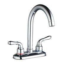 Кухня кран Смесители для ванной комнаты двойные ручки поворотный носик кран смесителя хромированной отделкой на бортике