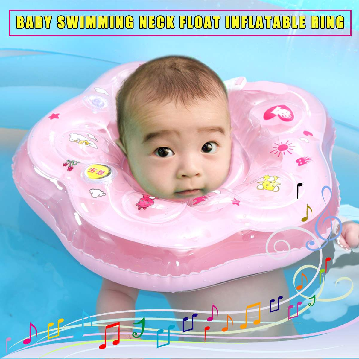 IPRee Safety Infant Baby Swimming Neck Float Music Ring Bath Inflatable Toy