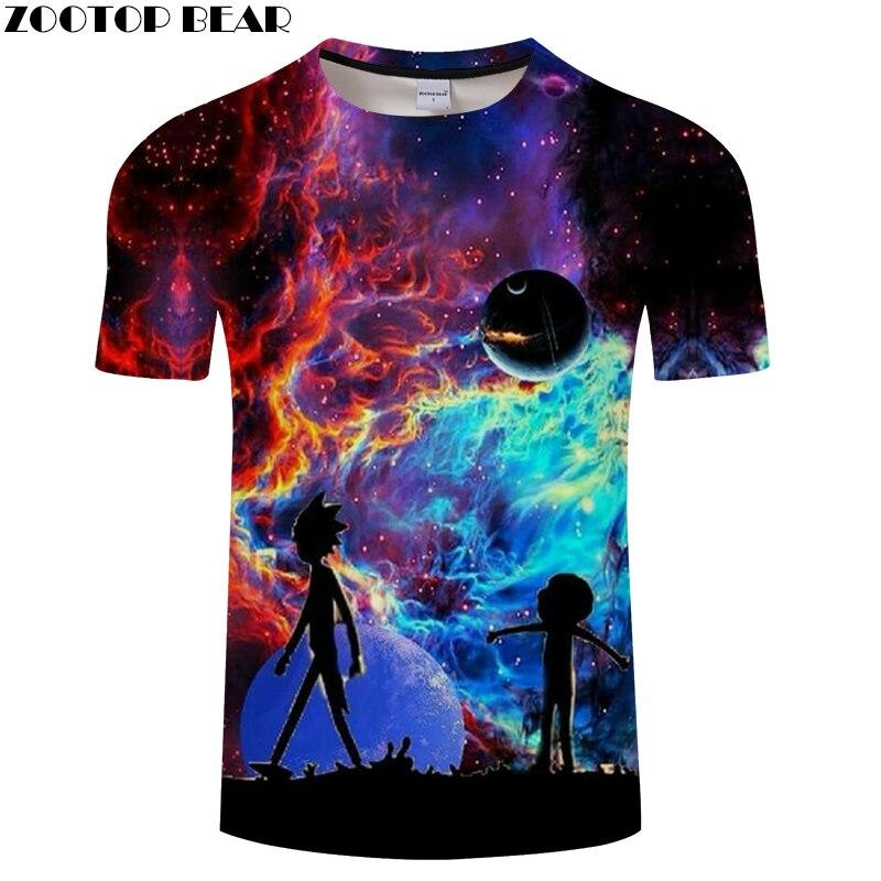 Rick and Morty   t     shirt   Galaxy tshirt Men   t  -  shirt   3D Tops&Tees Funny Short Sleeve   Shirts   6XL Streetwear Cloth Dropship ZOOTOPBEAR