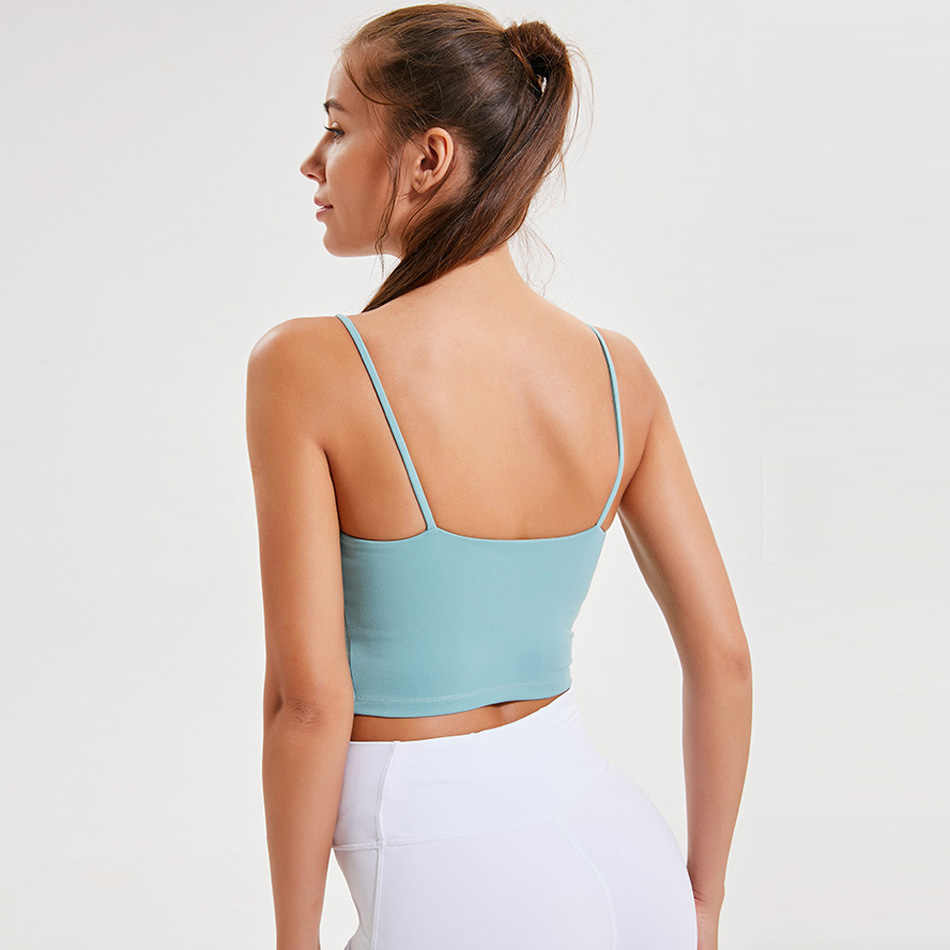 Dunne band workout tops voor vrouwen fitness yoga shirts strappy gym crop top padded roze sport shirt 7 kleuren spandex vrouwen shirts