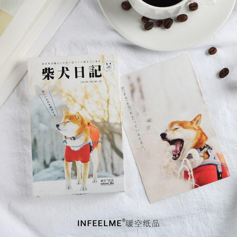 30 Sheets/Set Shiba Inu Dog Diary Series Postcard Greeting Card Birthday Gift Card Message Card