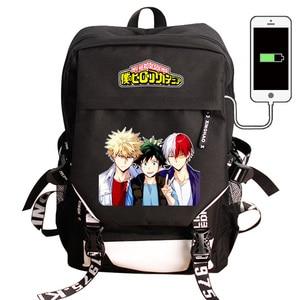 Image 2 - My Hero Academia Laptop plecak z ładowarką USB Boku no Hero Academia COS plecak szkolny plecak wodoodporny plecak podróżny