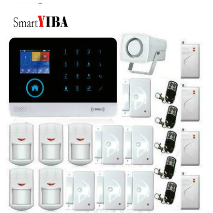 SmartYIB LCD TFT Anti-theft GSM Alarm System APP Push and SMS Notification WIFI Home Security System with Wireless Shock Sensor smartyib whole home alarm systerm business security alert with ios