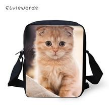 ELVISWORDS Fashion Women Messenger Bags Scotland Fold Cats Pattern Girls Flaps Cross Body Cute Animal Travel Mini Purses