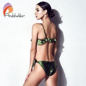 Image 3 - Anadzhelia Bikini Women Push Up Swimsuit Sexy Lotus leaf Brazilian Bikini Set Three Piece Swimwear Beach Bathing Suit Biquini