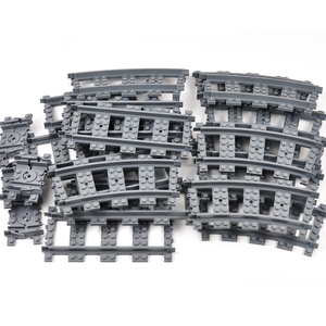Image 5 - City Train Tracks Train Rail Straight & Curved Tracks Sets Building Blocks Bricks Parts Kids Diy Construction Toys Model