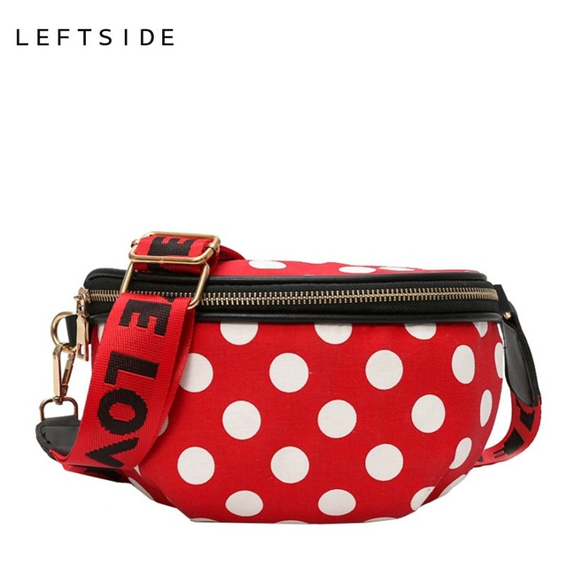 LEFTSIDE Dot Waist Bags For Women 2018 PU Leather Funny Packs Female Small Belt Bag Ladies Cute Chest Bag With Letter Belt