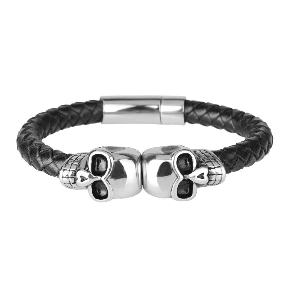 Kirykle mode tressé Bracelets en cuir crâne Bracelet Punk Bracelet en acier inoxydable boucle magnétique Bracelets de mode
