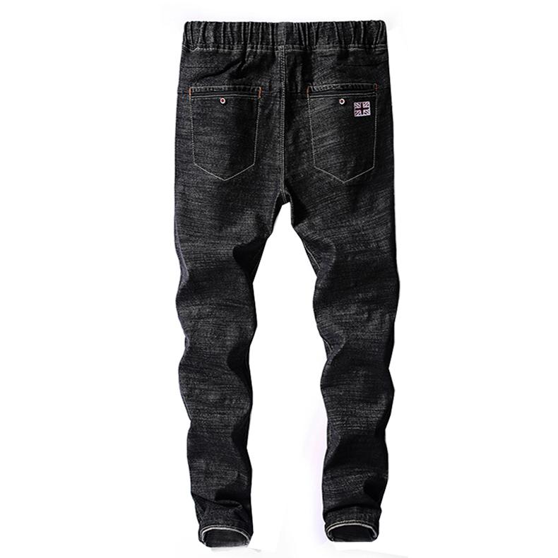 KSTUN Mens Jeans Japan Style Spring Autumn Elastic Waist Black Slim Drawstring Black Jean Man