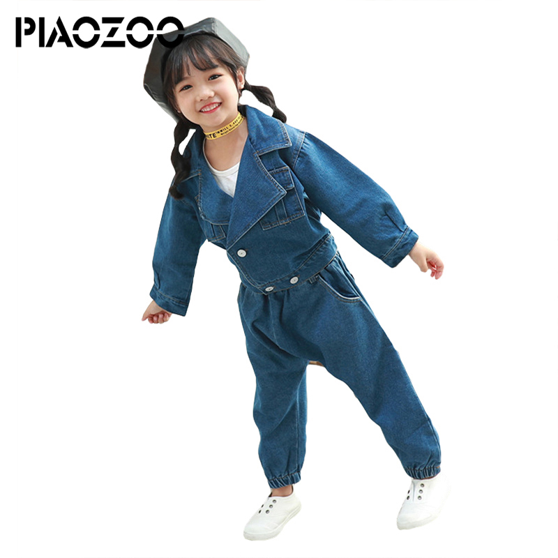 купить Children's Spring and Autumn casual work suit girl denim jacket and long jeans pant Washed Jeans 2 pcs denim sets for girls P20 по цене 1534.44 рублей