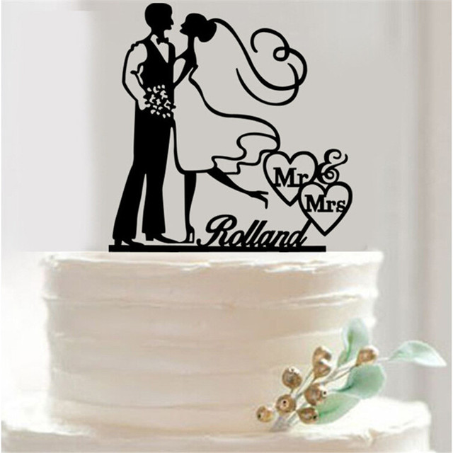 1pcs Acrylic Bride Groom Wedding Cake Topper With Dog Wedding Cake