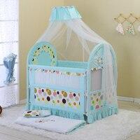 Отличное качество детская кровать длина и регулируемая высота сетки от комаров постельное белье из хлопка включены малыш играть ручка двой